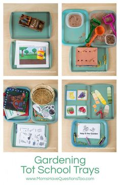 "Gardening Tot School Trays - great ideas here! She makes play ""dirt"" with baking soda and cocoa powder!! 