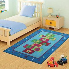 FunkyBuys® Marelle Tapis design moderne tapis de jeu pour enfants Bleu Chambre tapis antidérapant–3tailles Meilleur Prix, bleu, 80 x 120…