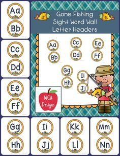 My Gone Fishing Sight Word Wall Headers feature colorful graphics designed to accent my Gone Fishing Sight Word Wall posters.