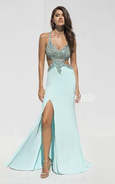 Sheath Floor-Length Straps Sleeveless Jersey Split Front Beading Backless Dress