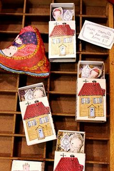 Little dolls in handmade matchbox doll houses!!! Soooo cute!!!