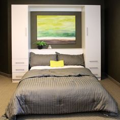 Penthouse Murphy Bed W/Hutches by BredaBeds. Side hutches can be customized to be used for tall hanging, double hanging or add drawers for maximum flexibility. Drawer option includes a convenient pull out night shelf.