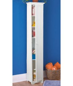 Narrow Skinny Tall Wooden Cabinet Storage Shelves Wood Pantry Kitchen Bathroom