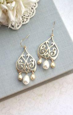 Gold Moroccan Boho Filigree Ivory Pearls Chandelier