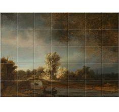 Rembrandt van Rijn Landscape with a Stone Bridge, oil on panel, x cm. Decorative Tile, Rembrandt, 17th Century, Art Reproductions, High Gloss, Bridge, Van, Indoor, Ceramics