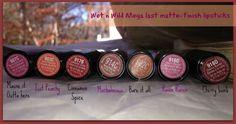 Wet n wild matte lipstick swatches on the lips. Dark skin. Pigmented lips.