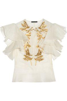 087c62925e3 Alexander McQueen - Embroidered silk-organza blouse