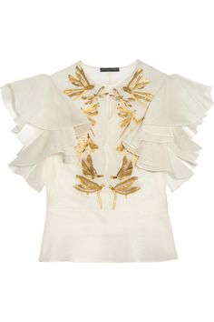 Alexander McQueenEmbroidered silk-organza blouse. Without those sleeves though...