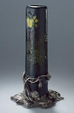 Emile Gallé, Nancy, (1846-1904), Blown, Internal Inclusions, Cased, and Engraved Glass Vase with Metal Mount.