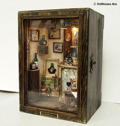 DollhouseAra » Vintage Small Wine Bar, handmade Dollhouse Miniatures