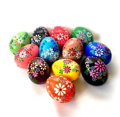 YOU CAN CREATE YOUR OWN SET OF THESE COLORS Hand painted Easter eggs. This is a set of 12 real chicken eggs approximately the same size, painted colors and decorated with wax. These are the colors - (red, blue, light blue, dark green, light green, pink, black, white, coffee, brown,