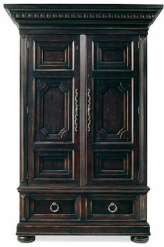 armoire dark with twisted handles