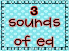 """Cute posters for the three sounds of the word ending """"ed"""".  I think this is a hard concept, maybe would help in Kindergarten and 1st."""