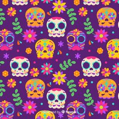 Day Of The Dead Art, Halloween, Diy And Crafts, Scrapbook, Vector Freepik, Fabric, Pattern, Altar, Skulls
