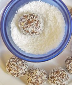 Raw Coconut Chocolate 'Kisses'  recipe Ingredients include dates, almonds, coconut flakes, cocoa powder