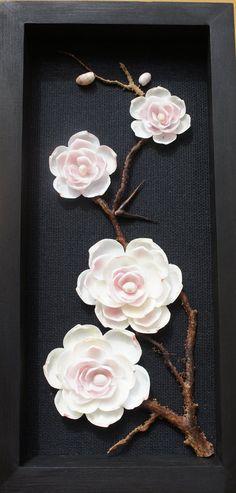 Seashell Four White and Pink Flowers seashell by SeashellMosaics                                                                                                                                                                                 More