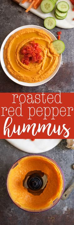 Homemade Roasted Red Pepper Hummus Recipe - a healthy and easy snack idea - vegan appetizer via @thecrunchychron