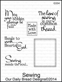 Our Daily Bread Designs - SEWING