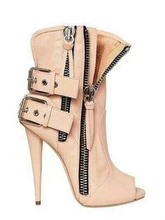 Light peach beige short boot buckles zippers held