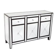 Black finished wood frame buffet with inlaid bevelled mirror. 3 drawers on runners and 3 doors with diamond pattern mirror fascia and polished chrome handles. Mirror Buffet, Sideboard Buffet, Mirrored Bedroom Furniture, Shop Cabinets, Interiors Online, Chrome Handles, Online Furniture, Furniture Ideas