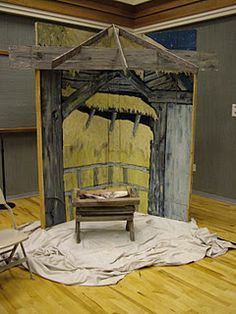 I like the drop cloth for the floor. build nativity stable for christmas play - Google Search