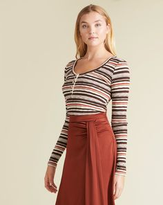 Molli Striped Henley Top | Veronica Beard