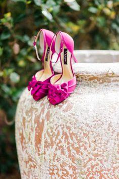 Pink shoes: http://www.stylemepretty.com/little-black-book-blog/2015/02/25/dazzling-hot-pink-wedding-inspiration-a-pop-of-confetti/   Photography: Caroline Lima - http://www.carolinelima.com/