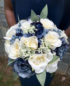 Blue Flowers Bouquet, Prom Flowers, Blue Wedding Flowers, White Wedding Bouquets, Bride Bouquets, Floral Wedding, Flower Colors, Silk Flowers, Navy Bouquet
