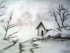 Manzara Resmi Karakalem - Manzara Resmi Easy Pencil Drawings, Pencil Drawings For Beginners, Landscape Pencil Drawings, Landscape Sketch, Amazing Drawings, Art Drawings Sketches, Landscape Art, Cool Drawings, Drawing Competition