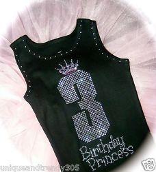 Personalized 3rd birthday Shirt. Birthday Rhinestone Shirt. Toddler Girls Shirt.