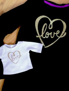 DIY GIFT IDEA - make matching Girl and Doll glitter shirts with your Cricut - Love Art designed by Jen Goode