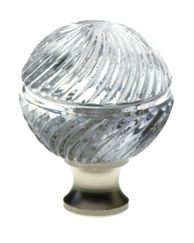 M30S-SS crystal cabinet knob with Silver Satin base