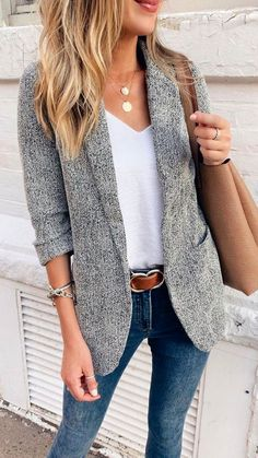 Blazer Outfits, Casual Winter Outfits, Hijab Casual, Casual Summer, Summer Business Casual, Summer Chic, Summer Fall, Blazer Suit, Blazer Jacket