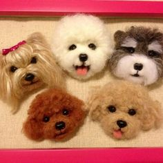 Needle wool felt puppy head magnets by KathycCollection