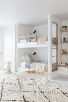 Bunk room of my dreams. ✨ Our will probably be half this size but it's my new favorite room to think of! Cannot wait for overnight guests and forts to be made. Thoughts on a bunk room? 🤣🙌 design shot by 😍😍😍 Bunk Bed Rooms, Bunk Beds Built In, Girls Bunk Beds, Bedroom Built Ins, Bunk Bed Designs, Bedroom Designs, Kids Room Design, Aesthetic Bedroom, Bedroom Decor
