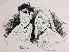 Ryan Ottley Invincible and Atom Eve sketch