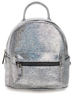 b4add6482cb7 Street Level Faux Leather Backpack - Metallic Faux Leather Backpack