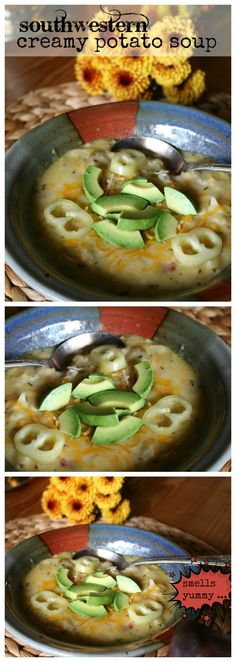 A Southwestern Creamy Potato Soup Recipe CeceliasGoodStuff.com Good Food for Good People