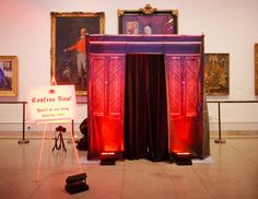 "Video ""confession"" booth where guests can record messages for the bride and groom"