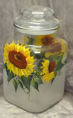 Hand painted Sunflowers Kitchen Canister by TheWishingWellStudio, $14.99