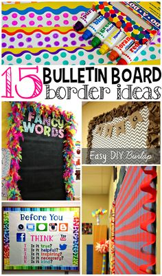 14 Stunning Classroom Decorating Ideas to Make Your Classroom Sparkle 15 Creative Bulletin Board Borders - Teach Junkie - Decoration Organization Homemade Bulletin Boards, Creative Bulletin Boards, Classroom Bulletin Boards, Classroom Setting, Classroom Door, Classroom Design, Classroom Displays, Future Classroom, Classroom Themes
