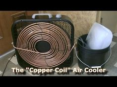 """The """"Copper Coil"""" Air Cooler! how to make a non-compressor based DIY air conditioner using a box fan and copper coil. Diy Swamp Cooler, Diy Cooler, Homemade Swamp Cooler, Homemade Ac, Homemade Air Conditioner, Tent Air Conditioner, Diy Ac, Air Conditioning Fan, Just In Case"""