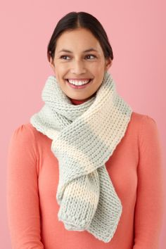 This scarf is loom knit in the double knitting technique with the Martha Stewart Crafts Lion Brand Yarn Knit & Weave Loom Kit.
