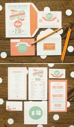 Coral & mint wedding invites