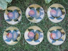 6 Retro Vintage Redware Pottery Side Plates by MostlyAwesomeStuff