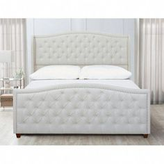 Craft a modern look and feel for your bedroom decor with the addition of this excellent Jennifer Taylor Marcella Silver Gray King Upholstered Bed. Cama Murphy, Murphy Bed, Wingback Headboard, Headboard And Footboard, Upholstered Platform Bed, Upholstered Beds, Tufted Bed, Bed Story, Bedroom Furniture
