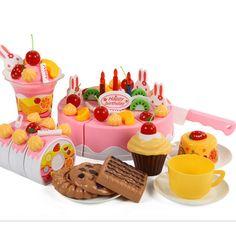 2016 gorąca sprzedaż 75 sztuk/zestaw plastikowe kuchnia birthday cake zabawki udawaj play miniaturowe żywności dla dzieci dziewczyny prezent