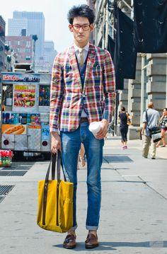 Men's Blue Plaid Blazer, Light Blue Dress Shirt, Beige ...