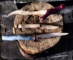 Wooden knives carved from Rowan, Holly and Poplar wood. Wood Knife, Walnut Oil, Carving Wood, Linseed Oil, Open Letter, Wooden Letters, Wood Projects, Hand Carved, Peanut Butter