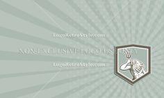 Neptune Holding Trident Shield Retro Business card Logo-Illustration